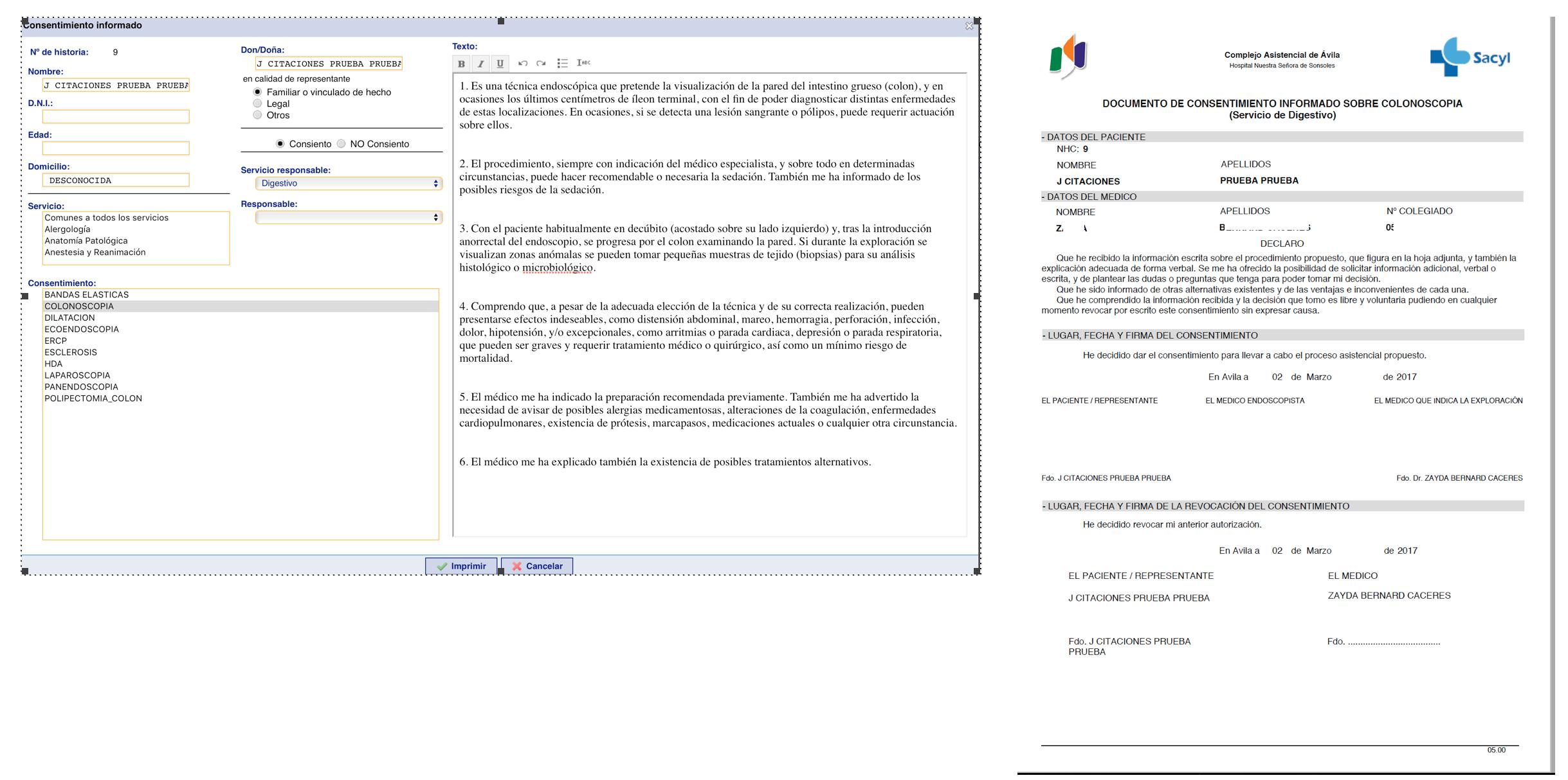 Impresión, firma y digitalización de consentimientos informados ...